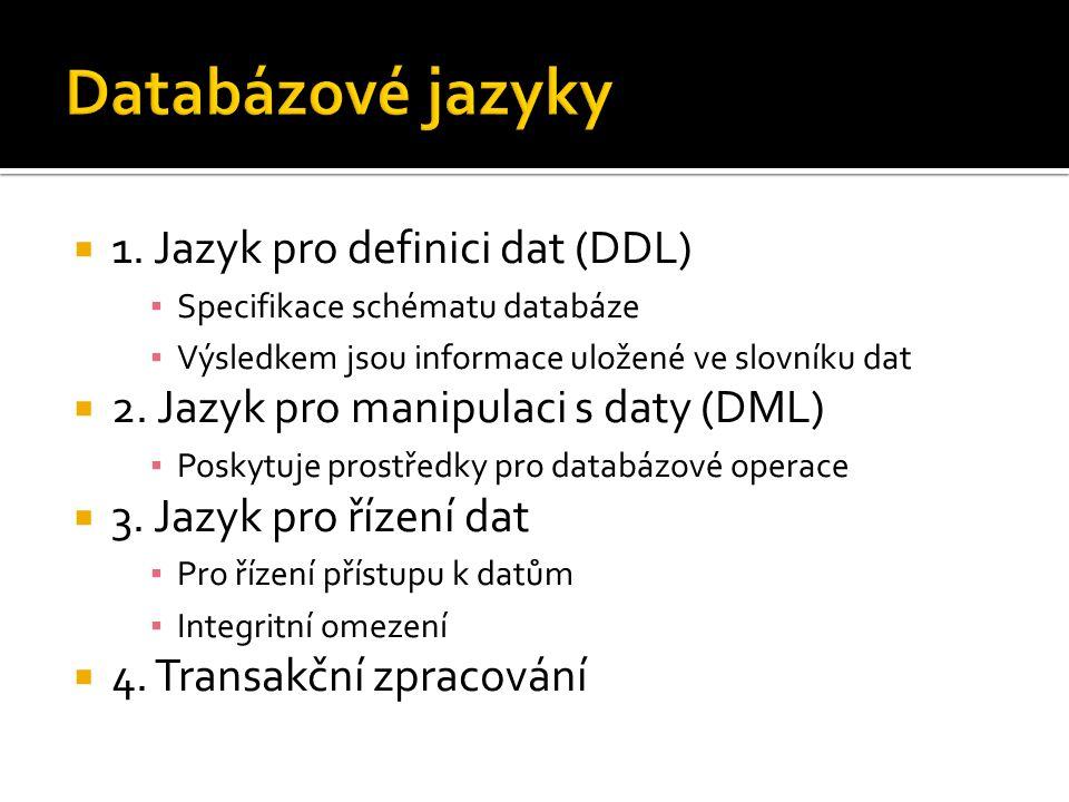  1. Jazyk pro definici dat (DDL) ▪ Specifikace schématu databáze ▪ Výsledkem jsou informace uložené ve slovníku dat  2. Jazyk pro manipulaci s daty