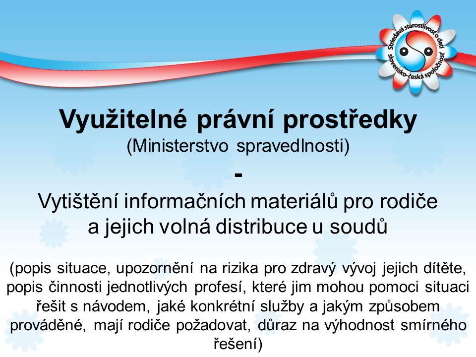 Využitelné právní prostředky (Ministerstvo spravedlnosti) - Vytištění informačních materiálů pro rodiče a jejich volná distribuce u soudů (popis situa