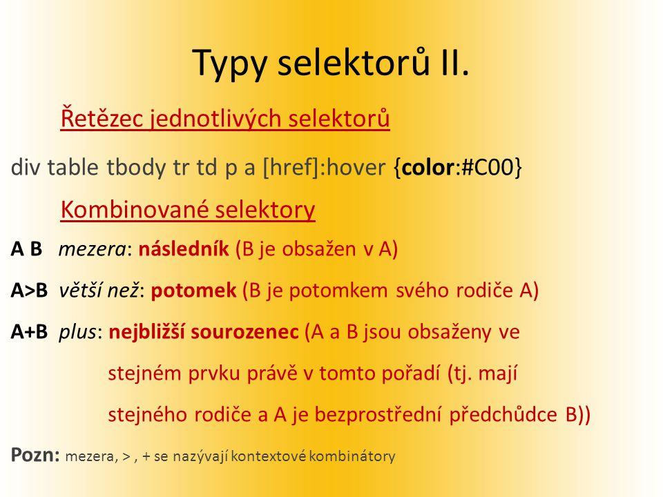 Typy selektorů II.