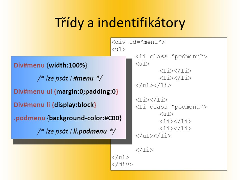 Třídy a indentifikátory Div#menu {width:100%} /* lze psát i #menu */ Div#menu ul {margin:0;padding:0} Div#menu li {display:block}.podmenu {background-color:#C00} /* lze psát i li.podmenu */