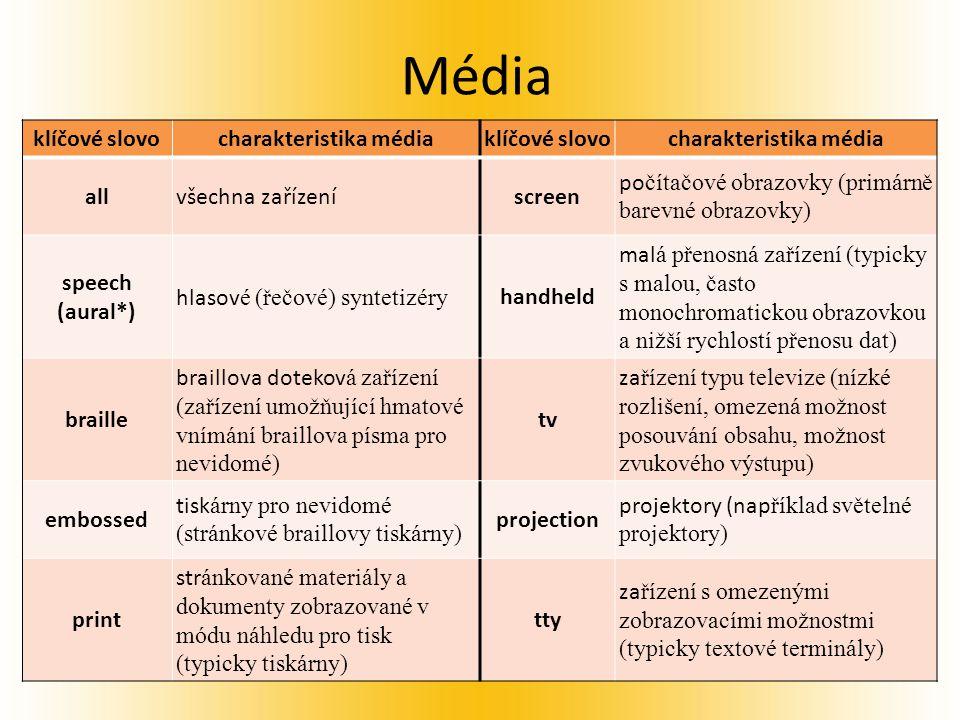 Média klíčové slovocharakteristika médiaklíčové slovocharakteristika média allvšechna zařízeníscreen po čítačové obrazovky (primárně barevné obrazovky) speech (aural*) hlasov é (řečové) syntetizéry handheld mal á přenosná zařízení (typicky s malou, často monochromatickou obrazovkou a nižší rychlostí přenosu dat) braille braillova dotekov á zařízení (zařízení umožňující hmatové vnímání braillova písma pro nevidomé) tv za řízení typu televize (nízké rozlišení, omezená možnost posouvání obsahu, možnost zvukového výstupu) embossed tisk árny pro nevidomé (stránkové braillovy tiskárny) projection projektory (nap říklad světelné projektory) print str ánkované materiály a dokumenty zobrazované v módu náhledu pro tisk (typicky tiskárny) tty za řízení s omezenými zobrazovacími možnostmi (typicky textové terminály)