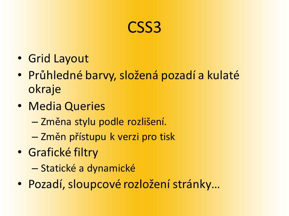 CSS3 Grid Layout Průhledné barvy, složená pozadí a kulaté okraje Media Queries – Změna stylu podle rozlišení.