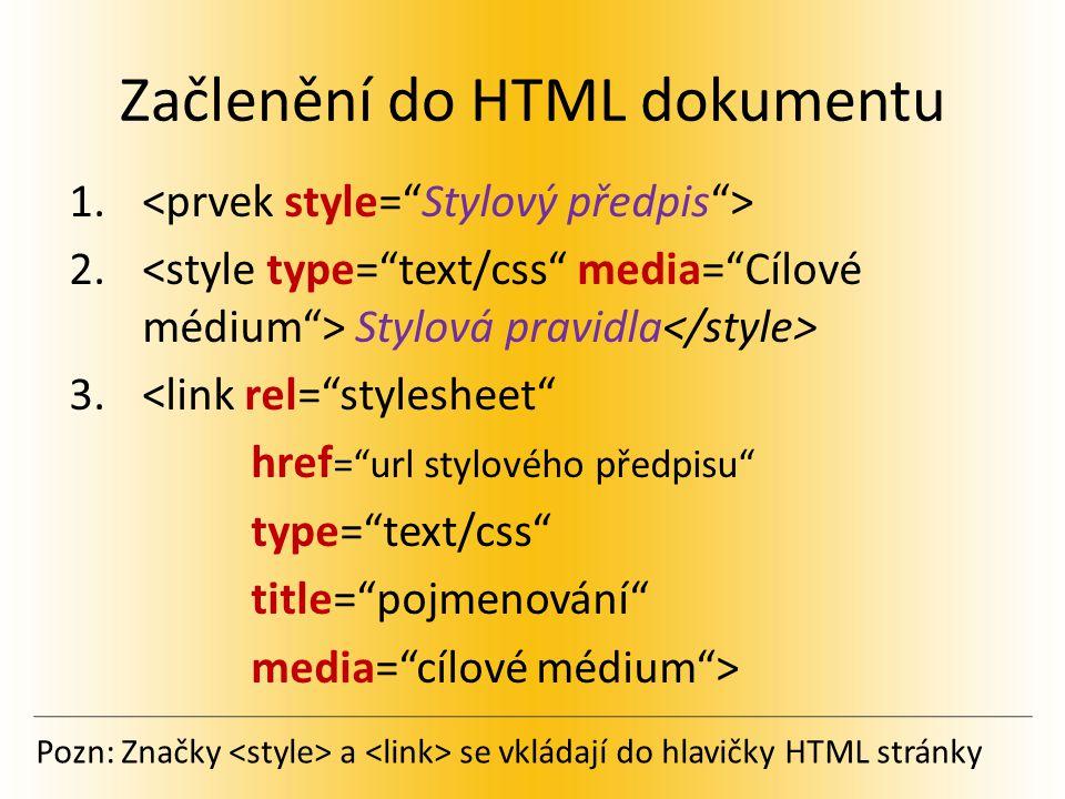 Začlenění do HTML dokumentu 1. 2.