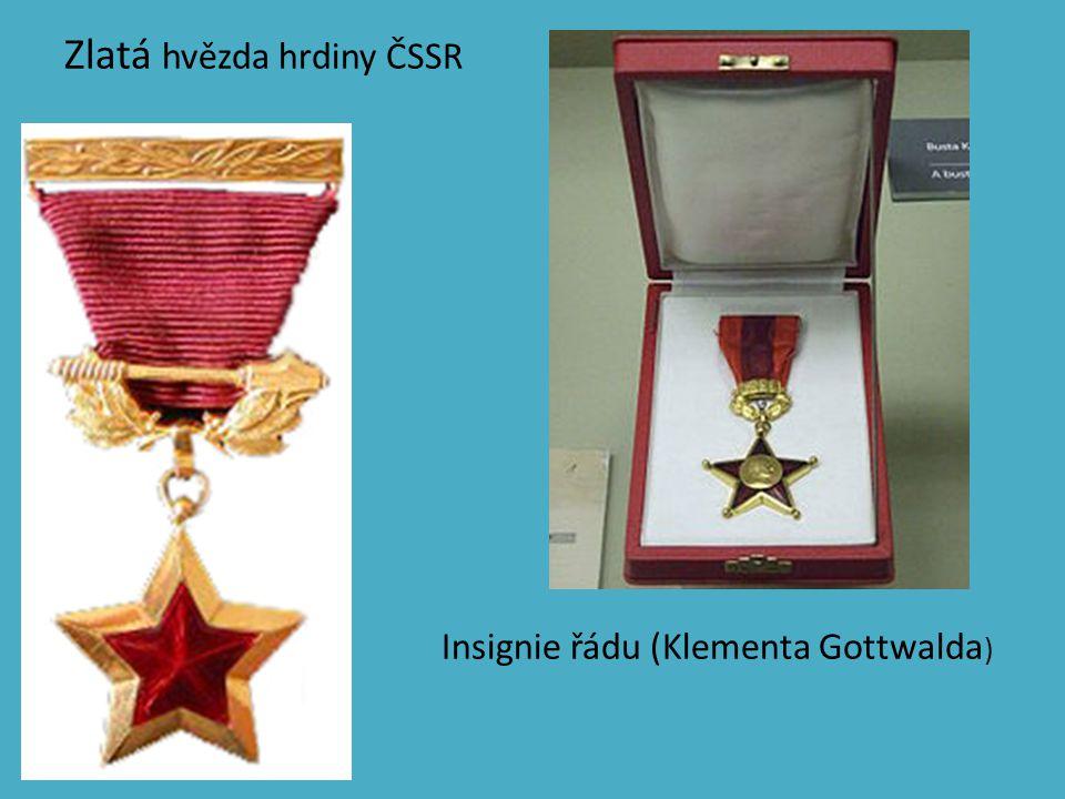 Zlatá hvězda hrdiny ČSSR Insignie řádu (Klementa Gottwalda )