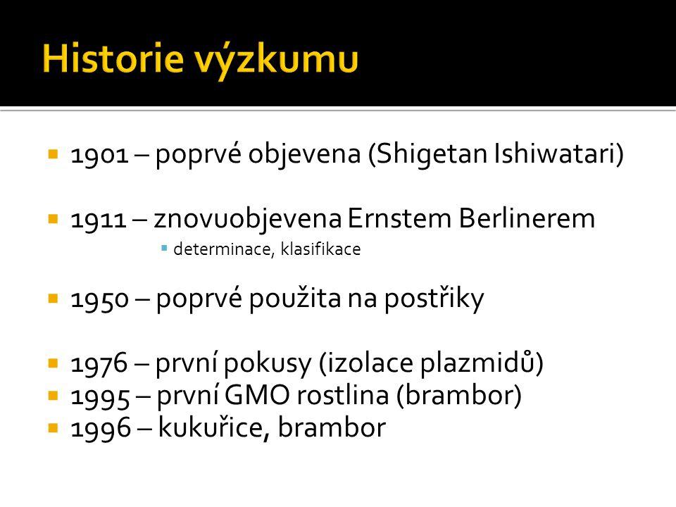  1901 – poprvé objevena (Shigetan Ishiwatari)  1911 – znovuobjevena Ernstem Berlinerem  determinace, klasifikace  1950 – poprvé použita na postřiky  1976 – první pokusy (izolace plazmidů)  1995 – první GMO rostlina (brambor)  1996 – kukuřice, brambor
