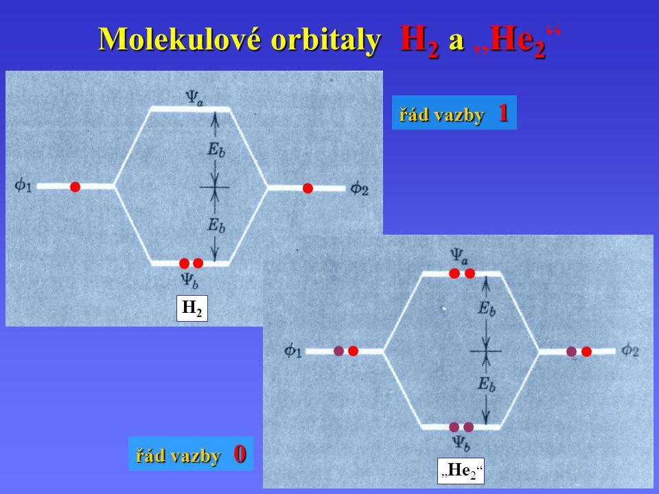 """Molekulové orbitaly H 2 a He 2 Molekulové orbitaly H 2 a """"He 2 H2H2 """" He 2 řád vazby 1 řád vazby 0"""