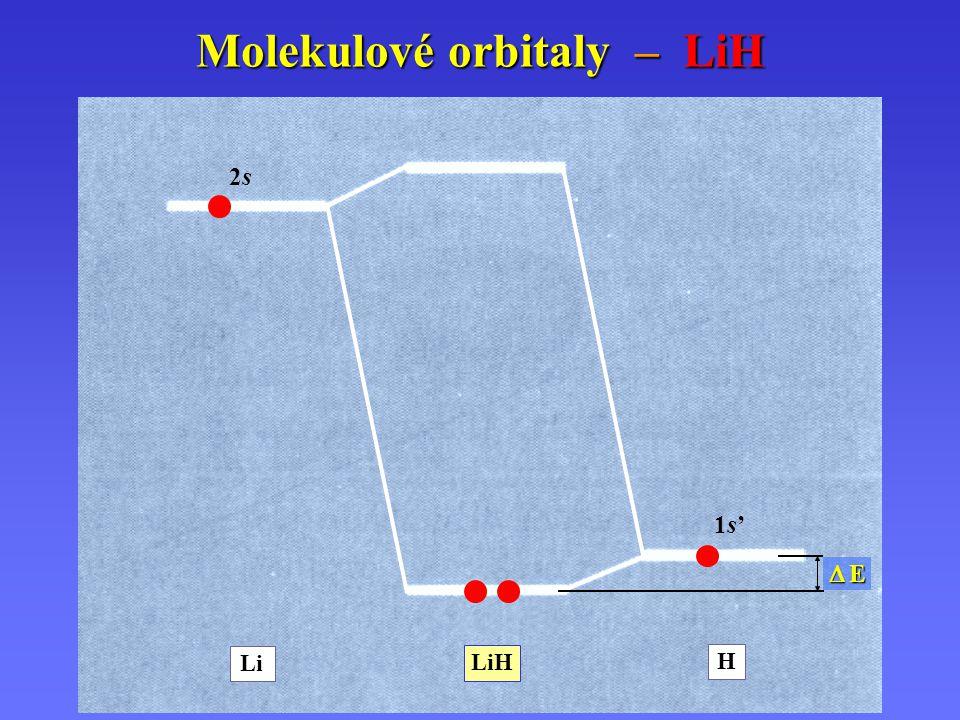Li H LiH 1s'1s' 2s2s Molekulové orbitaly – LiH  E E E E