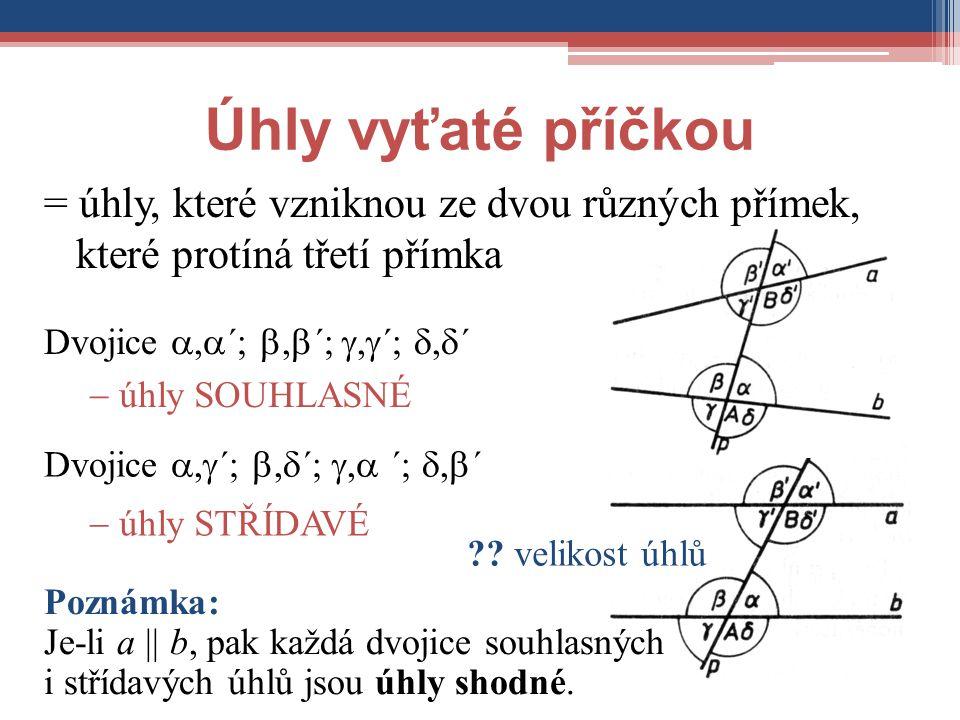 Úhly vyťaté příčkou = úhly, které vzniknou ze dvou různých přímek, které protíná třetí přímka Dvojice ,  ´; ,  ´; ,  ´; ,  ´  úhly SOUHLASNÉ