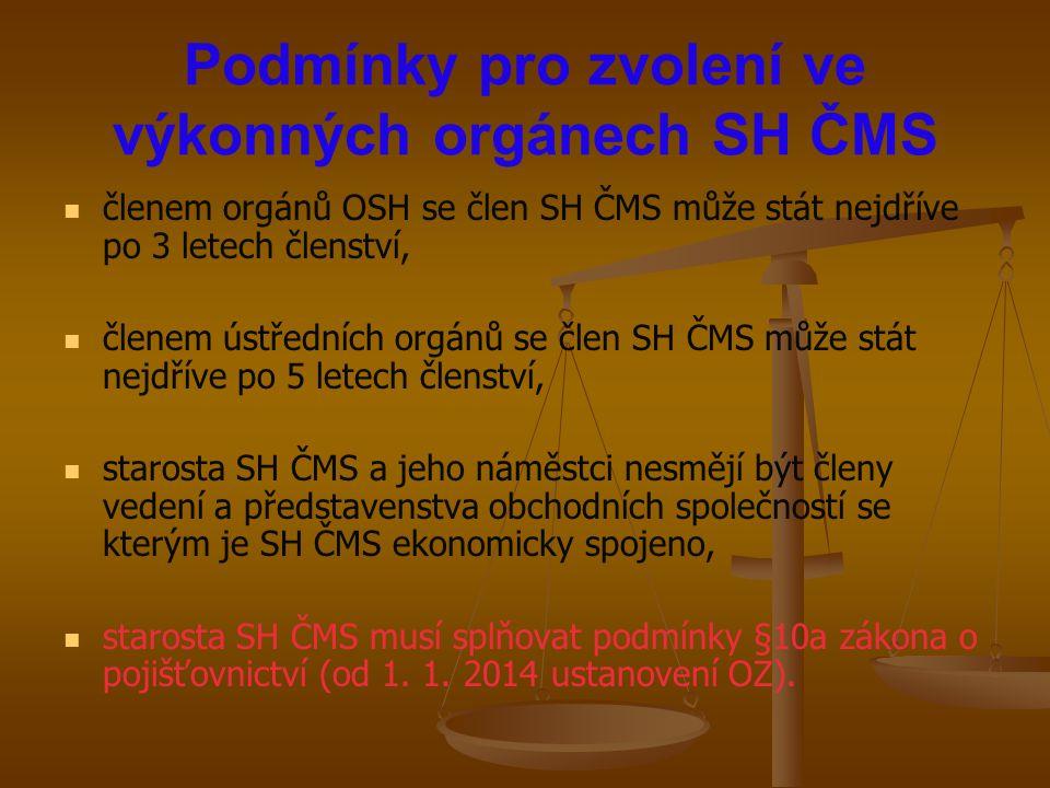 Podmínky pro zvolení ve výkonných orgánech SH ČMS členem orgánů OSH se člen SH ČMS může stát nejdříve po 3 letech členství, členem ústředních orgánů s