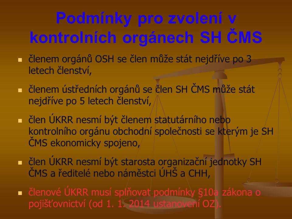 Podmínky pro zvolení v kontrolních orgánech SH ČMS členem orgánů OSH se člen může stát nejdříve po 3 letech členství, členem ústředních orgánů se člen