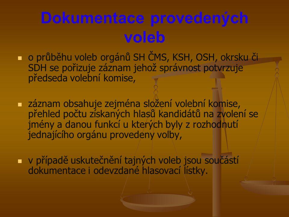 Dokumentace provedených voleb o průběhu voleb orgánů SH ČMS, KSH, OSH, okrsku či SDH se pořizuje záznam jehož správnost potvrzuje předseda volební kom