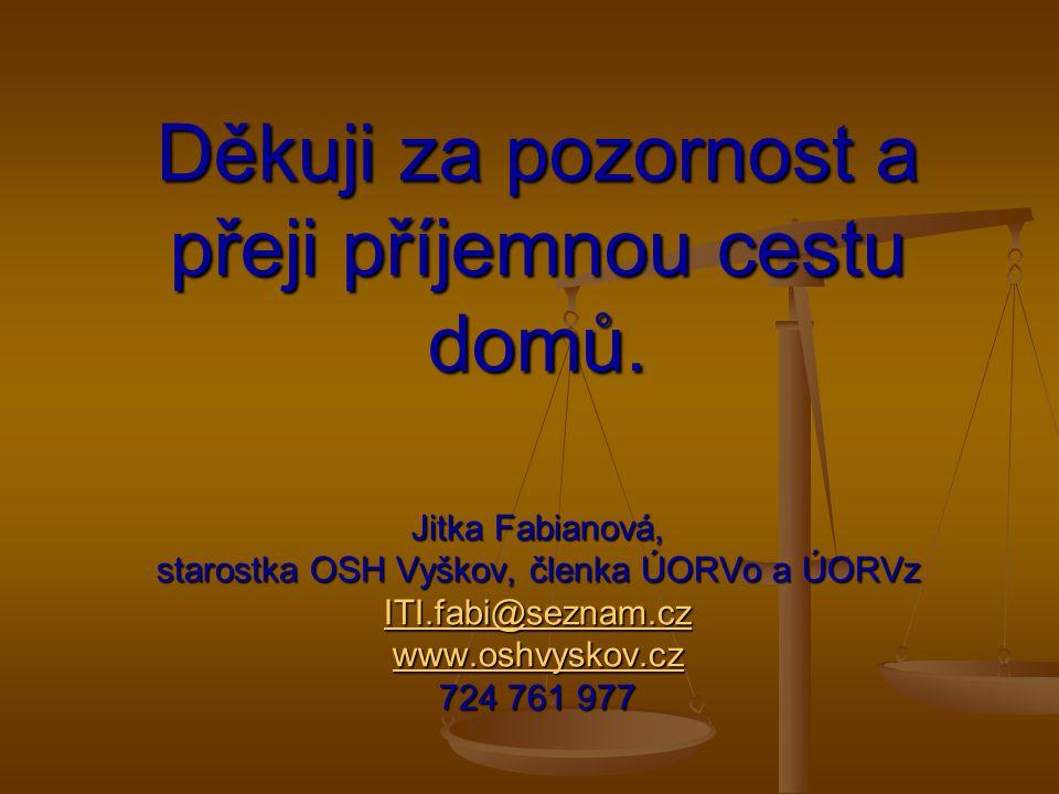Děkuji za pozornost a přeji příjemnou cestu domů. Jitka Fabianová, starostka OSH Vyškov, členka ÚORVo a ÚORVz ITI.fabi@seznam.cz www.oshvyskov.cz 724