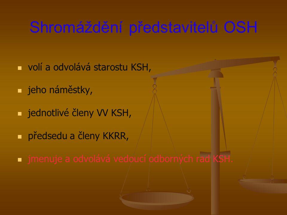 Shromáždění představitelů OSH volí a odvolává starostu KSH, jeho náměstky, jednotlivé členy VV KSH, předsedu a členy KKRR, jmenuje a odvolává vedoucí
