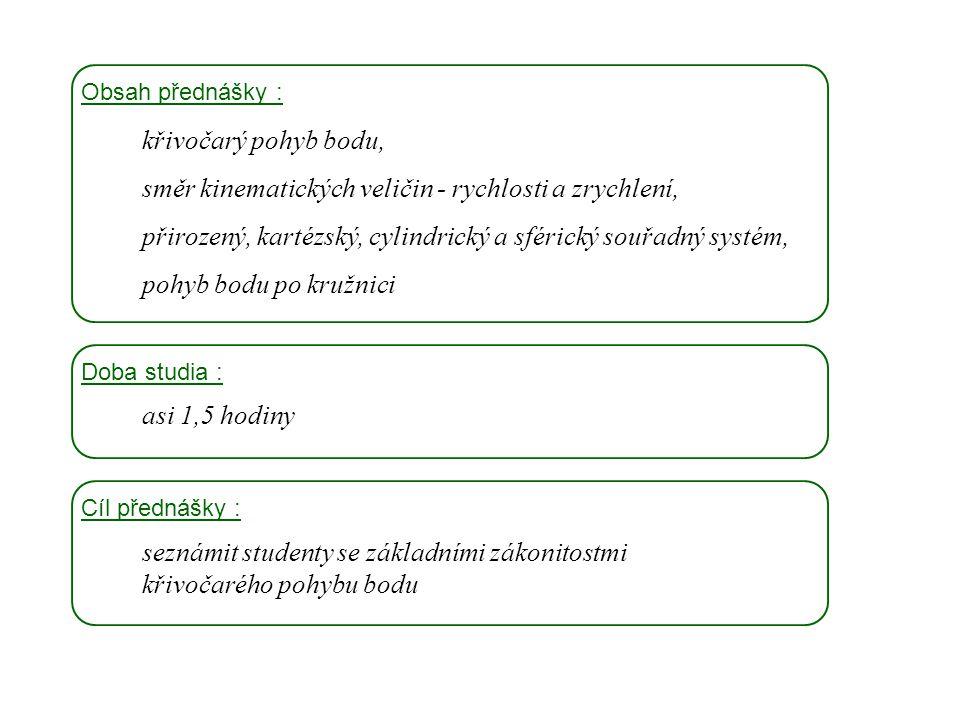Dynamika I, 3. přednáška Obsah přednášky : křivočarý pohyb bodu, směr kinematických veličin - rychlosti a zrychlení, přirozený, kartézský, cylindrický