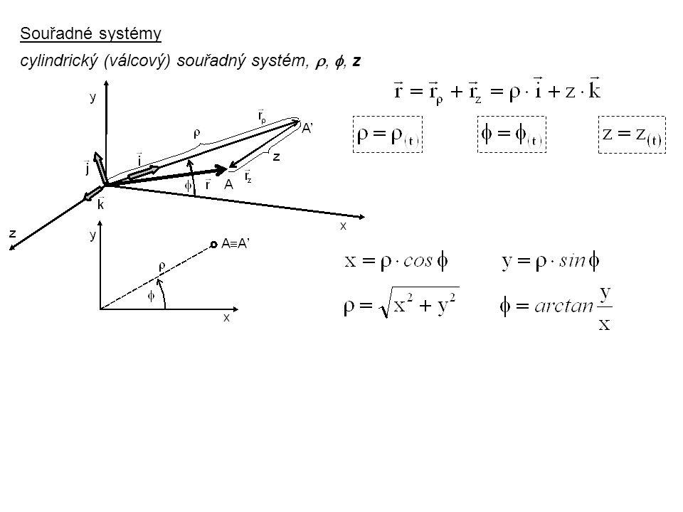 Souřadné systémy cylindrický (válcový) souřadný systém, , , z Dynamika I, 3. přednáška