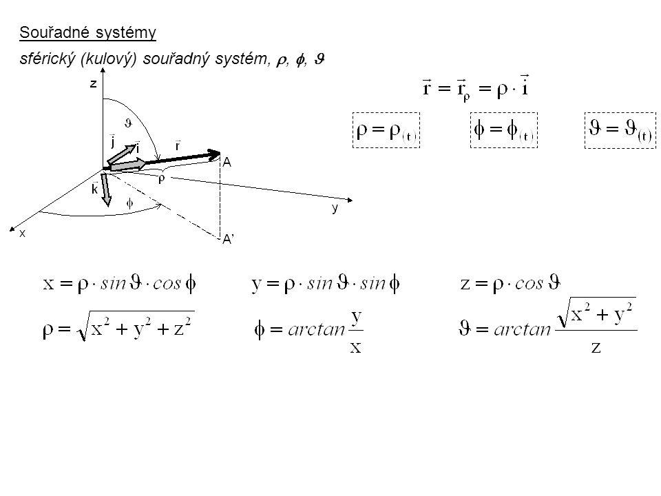 Souřadné systémy sférický (kulový) souřadný systém, , ,