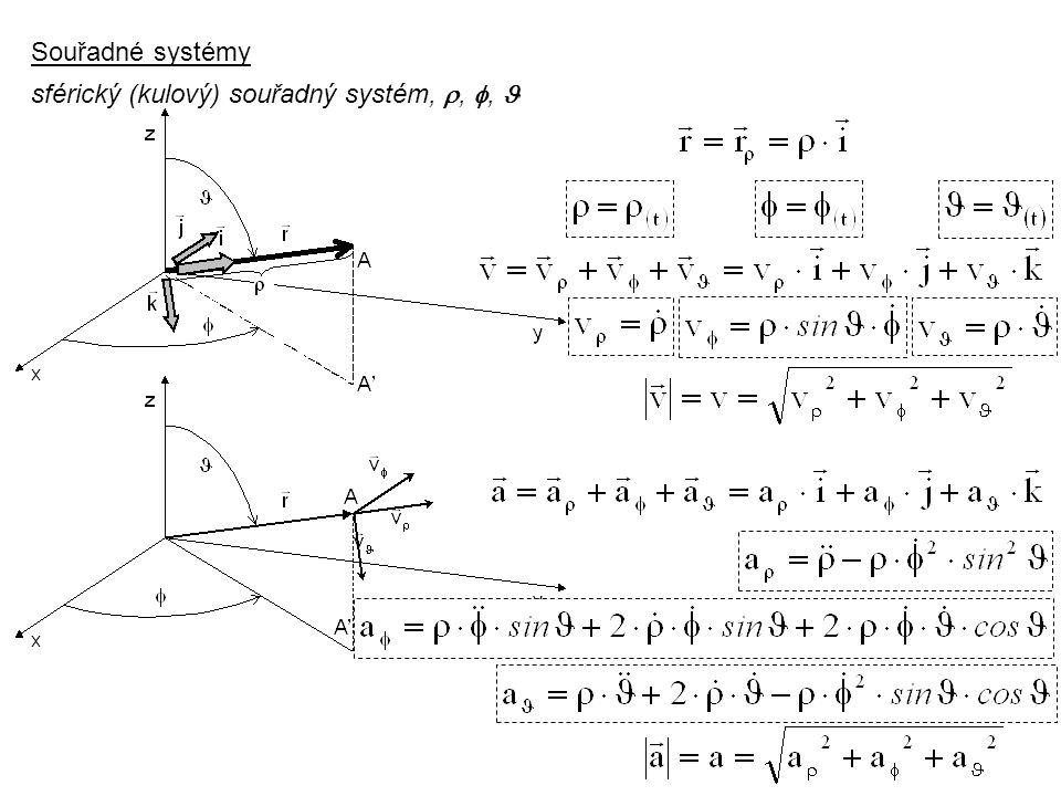 Dynamika I, 3. přednáška Souřadné systémy sférický (kulový) souřadný systém, , ,