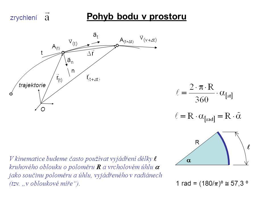 Dynamika I, 3. přednáška zrychlení Pohyb bodu v prostoru  R 1 rad = (180/  )º  57,3 º V kinematice budeme často používat vyjádření délky kruhového