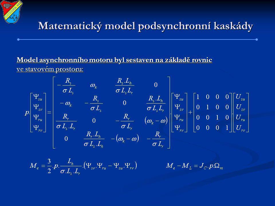 Model asynchronního motoru byl sestaven na základě rovnic ve stavovém prostoru:
