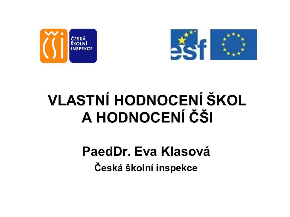 VLASTNÍ HODNOCENÍ ŠKOL A HODNOCENÍ ČŠI PaedDr. Eva Klasová Česká školní inspekce