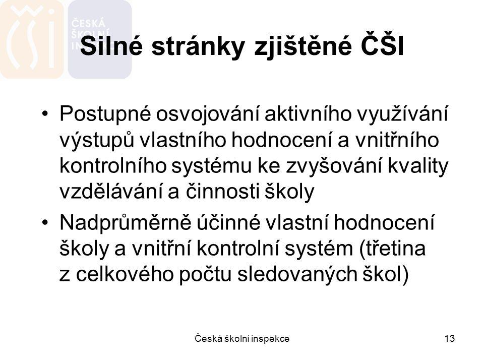 Česká školní inspekce13 Silné stránky zjištěné ČŠI Postupné osvojování aktivního využívání výstupů vlastního hodnocení a vnitřního kontrolního systému
