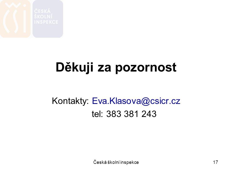 Česká školní inspekce17 Děkuji za pozornost Kontakty: Eva.Klasova@csicr.cz tel: 383 381 243