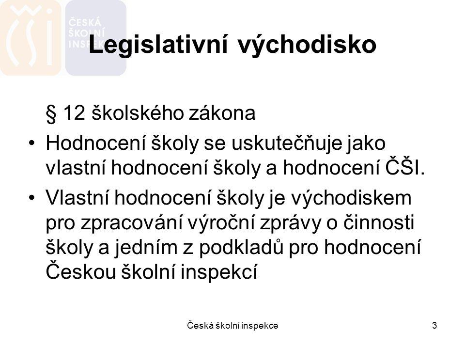 Česká školní inspekce3 Legislativní východisko § 12 školského zákona Hodnocení školy se uskutečňuje jako vlastní hodnocení školy a hodnocení ČŠI. Vlas
