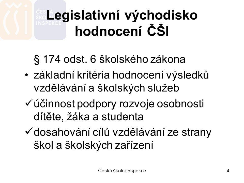 Česká školní inspekce4 Legislativní východisko hodnocení ČŠI § 174 odst. 6 školského zákona základní kritéria hodnocení výsledků vzdělávání a školskýc