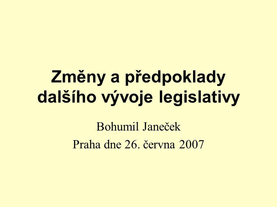 Změny a předpoklady dalšího vývoje legislativy Bohumil Janeček Praha dne 26. června 2007