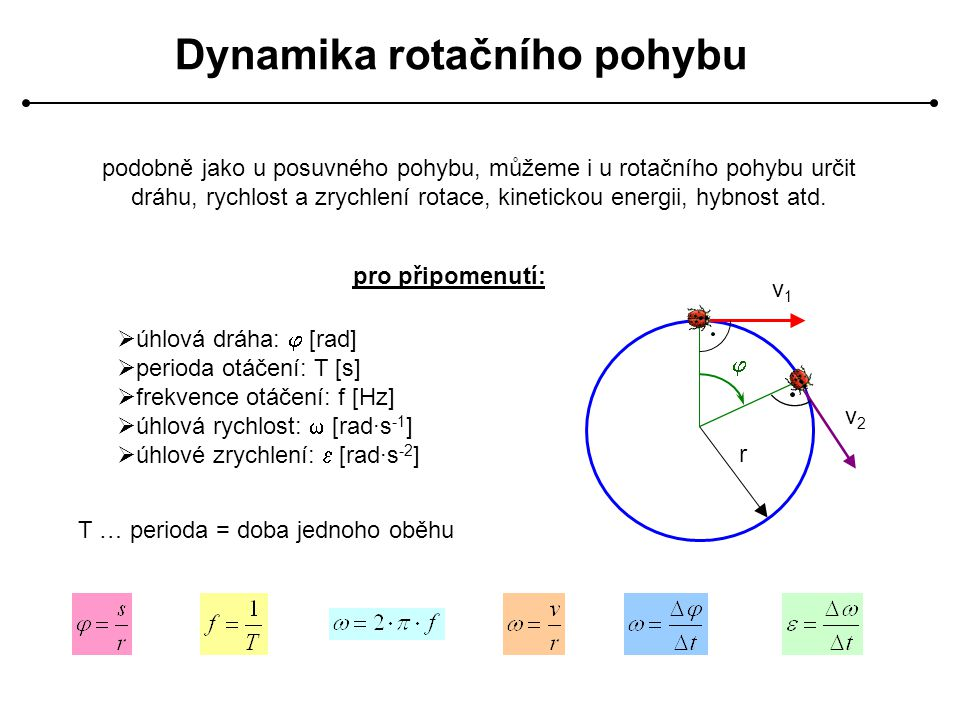 Dynamika rotačního pohybu podobně jako u posuvného pohybu, můžeme i u rotačního pohybu určit dráhu, rychlost a zrychlení rotace, kinetickou energii, h