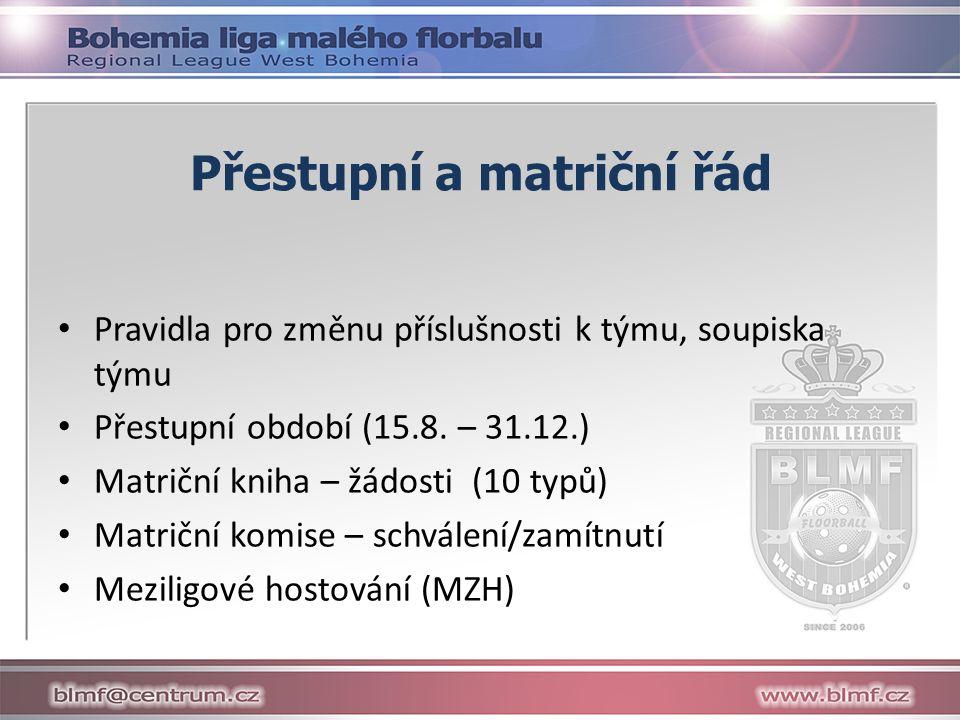 Přestupní a matriční řád Pravidla pro změnu příslušnosti k týmu, soupiska týmu Přestupní období (15.8.