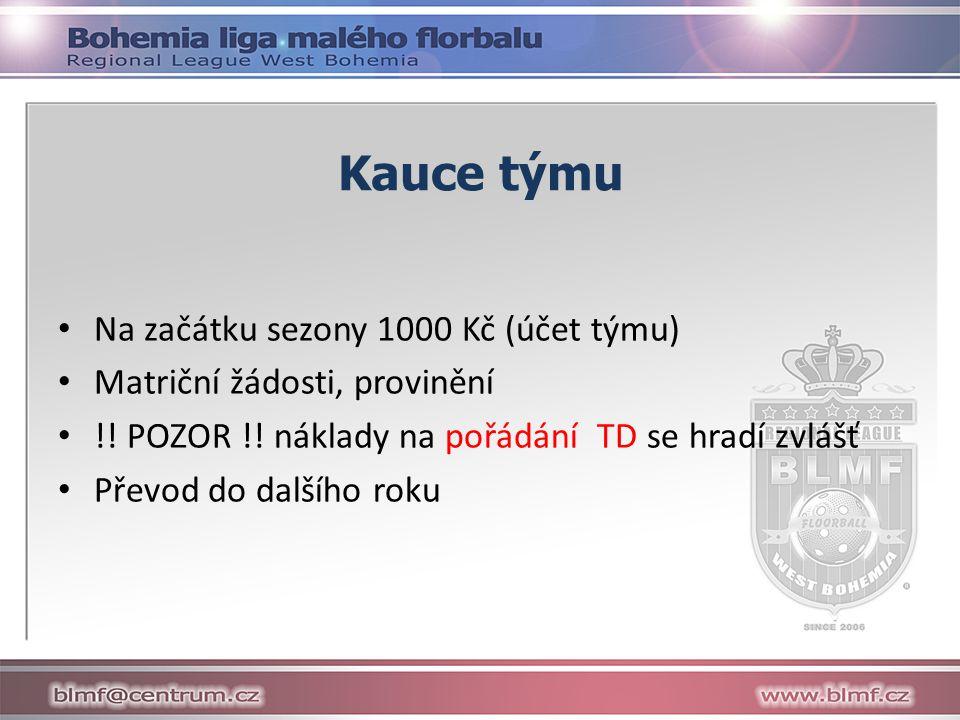 Kauce týmu Na začátku sezony 1000 Kč (účet týmu) Matriční žádosti, provinění !.