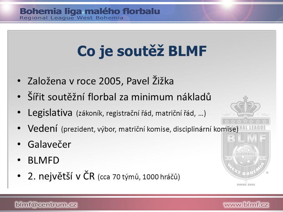 Co je soutěž BLMF Založena v roce 2005, Pavel Žižka Šířit soutěžní florbal za minimum nákladů Legislativa (zákoník, registrační řád, matriční řád, …) Vedení (prezident, výbor, matriční komise, disciplinární komise) Galavečer BLMFD 2.