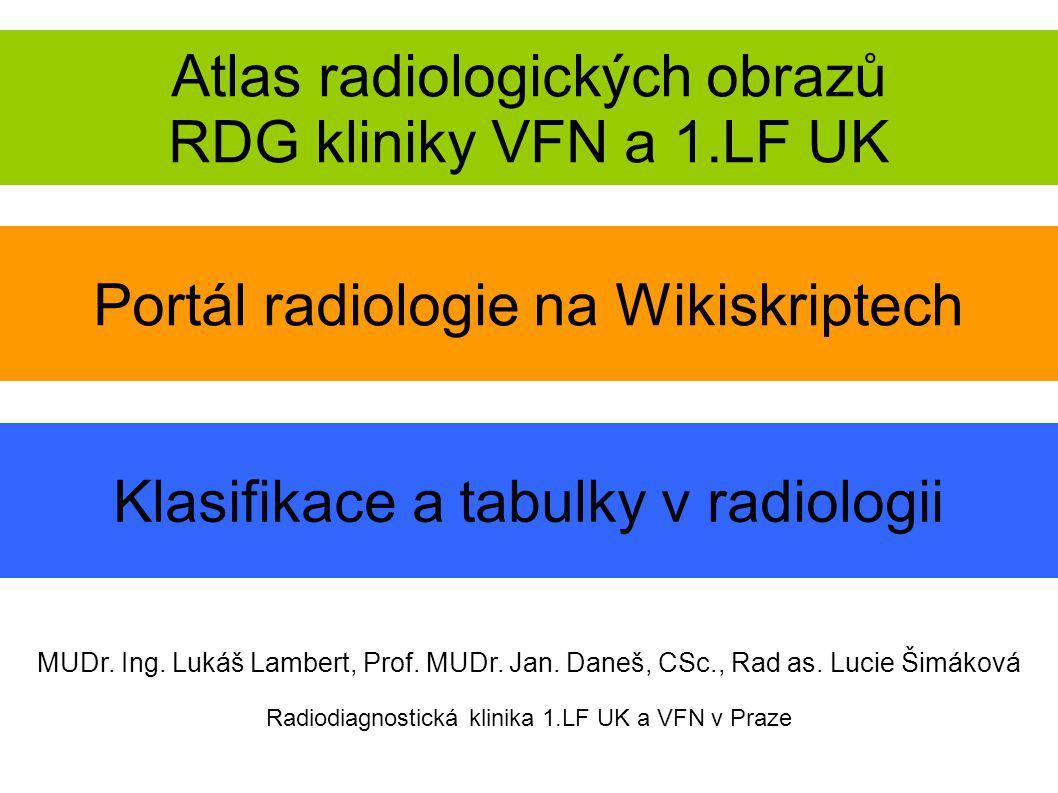 Atlas radiologických obrazů RDG kliniky VFN a 1.LF UK MUDr. Ing. Lukáš Lambert, Prof. MUDr. Jan. Daneš, CSc., Rad as. Lucie Šimáková Radiodiagnostická