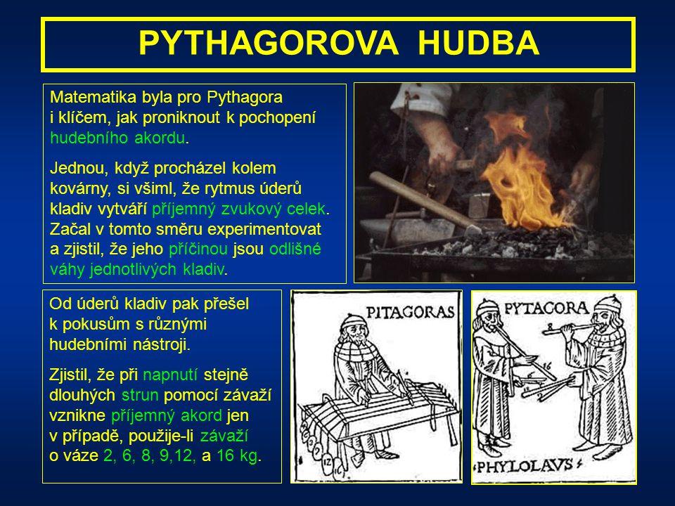 PYTHAGOROVA HUDBA Pythagoras byl přesvědčen, že prameny hudebního krásna je nutné hledat ve vesmíru. Předpokládal, že právě hudba je schopna nastolit