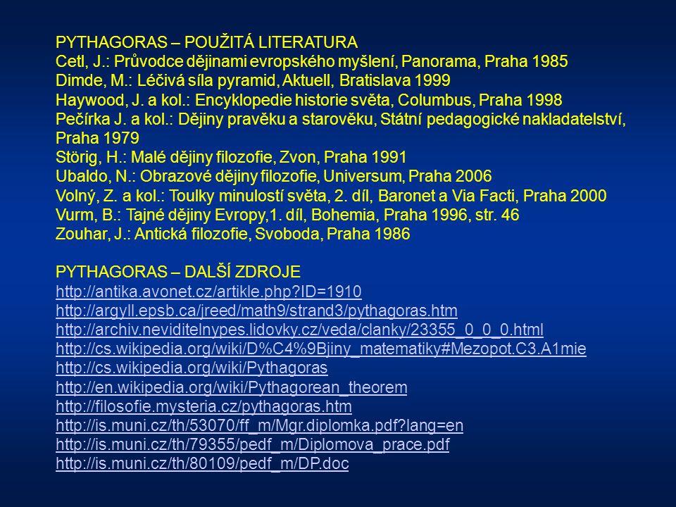 PYTHAGORAS - OBRAZOVÁ PŘÍLOHA PREZENTACE číslo strany / obrázek 12/a www.sanktpius.de/Berichte/Aegaeis_2003/Antike....www.sanktpius.de/Berichte/Aegaei