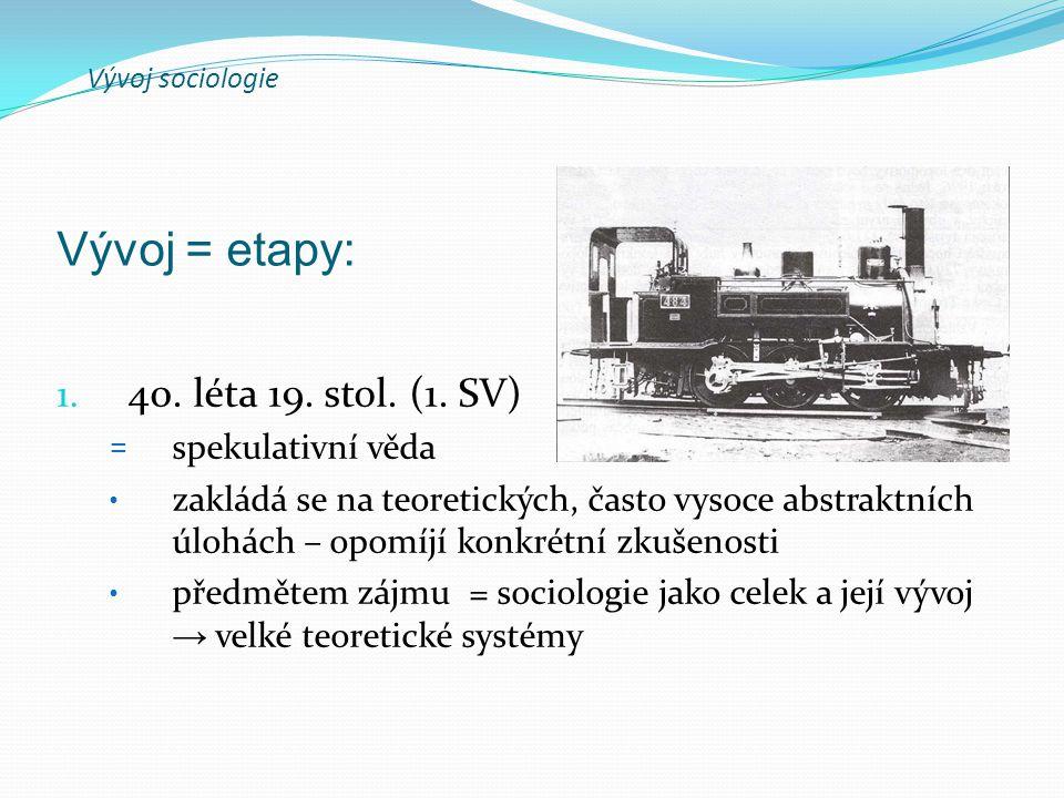 Vývoj sociologie 1.40. léta 19. stol. (1. SV) A. Comte (1798-1857) = řád + vývoj K.