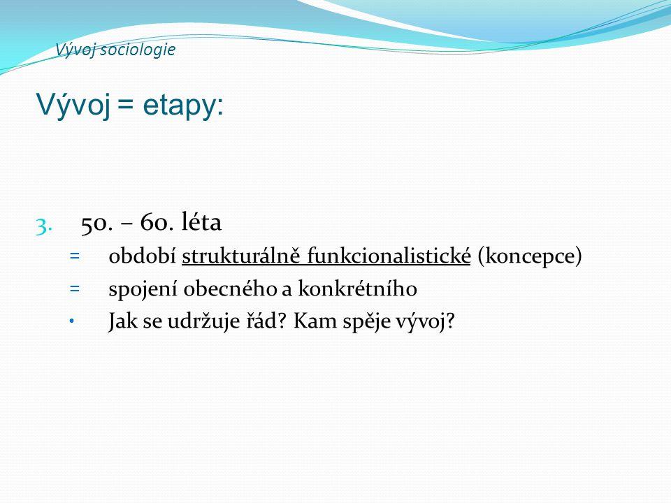 Vývoj sociologie 3. 50. – 60.