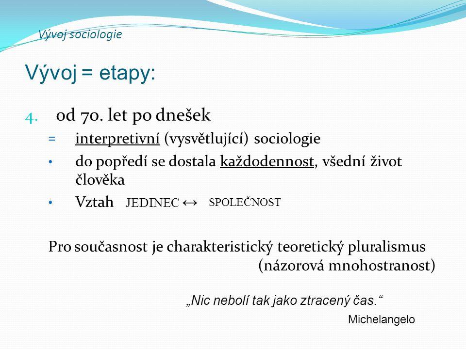 Vývoj sociologie 4. od 70.