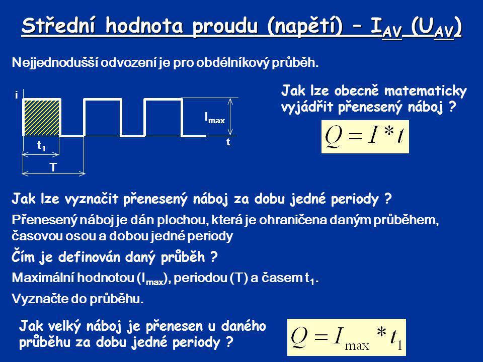 Střední hodnota proudu (napětí) – I AV (U AV ) Nejjednodušší odvození je pro obdélníkový průběh. t i Jak lze obecně matematicky vyjádřit přenesený náb