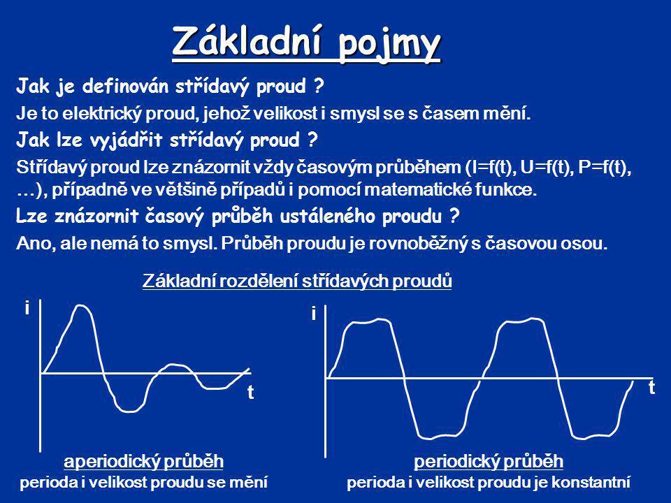 Základní pojmy Jak je definován střídavý proud ? Je to elektrický proud, jehož velikost i smysl se s časem mění. Jak lze vyjádřit střídavý proud ? Stř