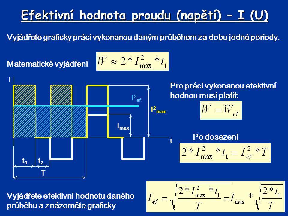 Efektivní hodnota proudu (napětí) – I (U) Vyjádřete graficky práci vykonanou daným průběhem za dobu jedné periody. Vyjádřete efektivní hodnotu daného