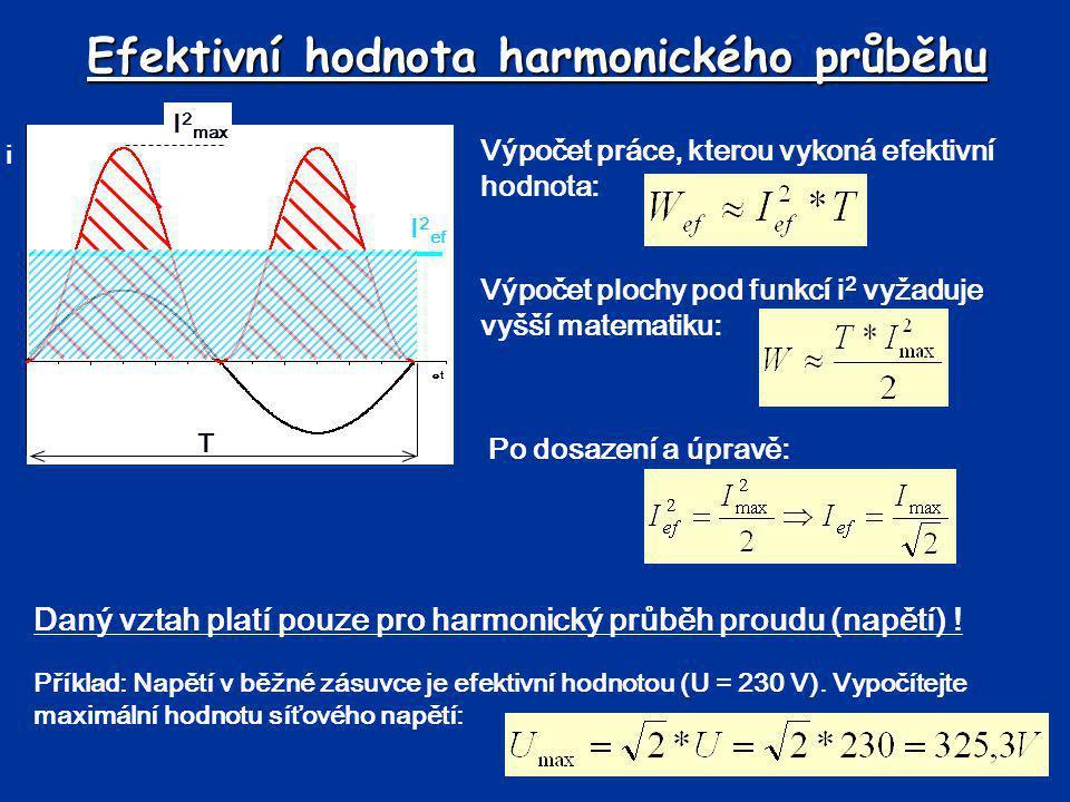Efektivní hodnota harmonického průběhu Daný vztah platí pouze pro harmonický průběh proudu (napětí) ! Po dosazení a úpravě: Výpočet práce, kterou vyko