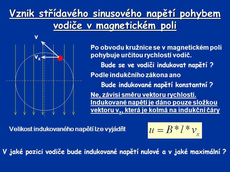 Vznik střídavého sinusového napětí pohybem vodiče v magnetickém poli Po obvodu kružnice se v magnetickém poli pohybuje určitou rychlostí vodič. Bude s