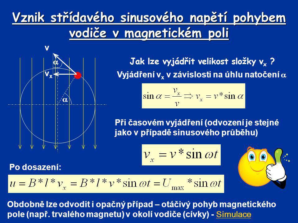 Vznik střídavého sinusového napětí pohybem vodiče v magnetickém poli Jak lze vyjádřit velikost složky v x ? Vyjádření v x v závislosti na úhlu natočen