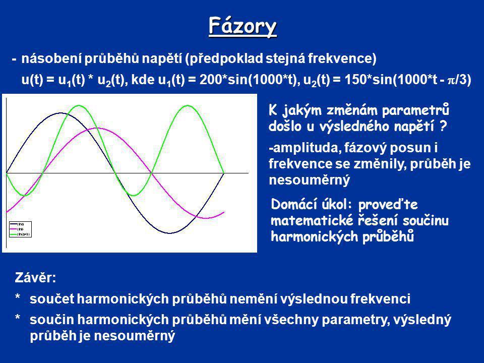 Fázory -násobení průběhů napětí (předpoklad stejná frekvence) u(t) = u 1 (t) * u 2 (t), kde u 1 (t) = 200*sin(1000*t), u 2 (t) = 150*sin(1000*t -  /3