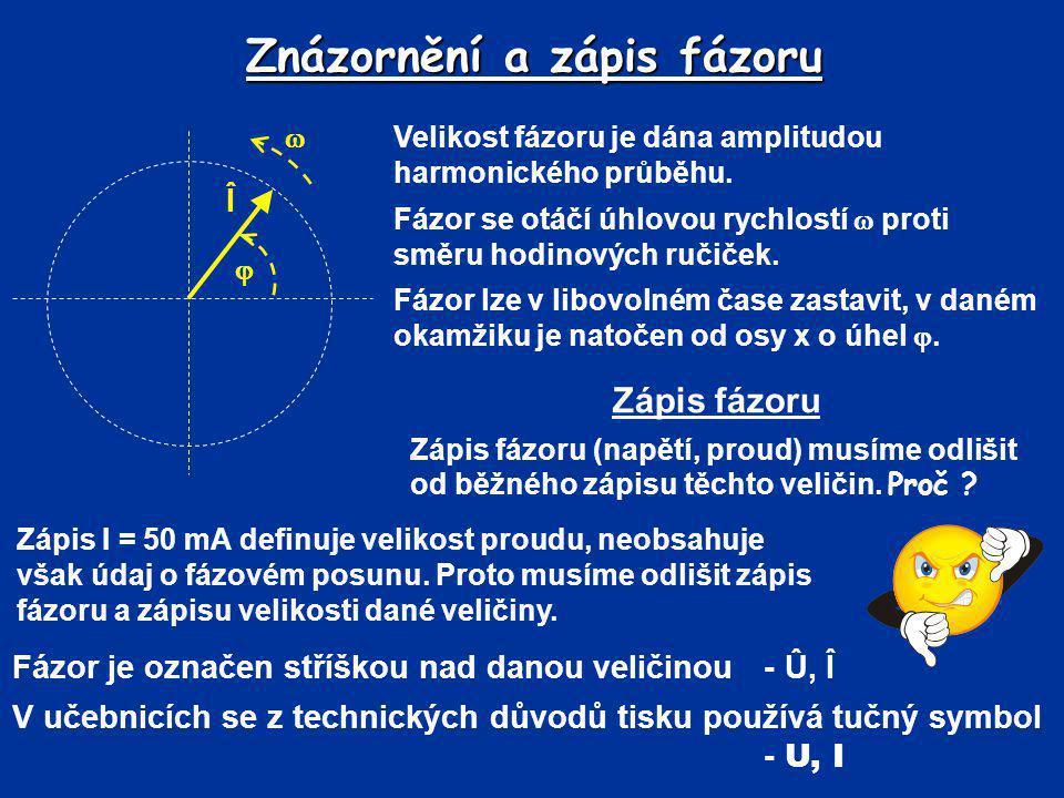 Znázornění a zápis fázoru Velikost fázoru je dána amplitudou harmonického průběhu. Fázor se otáčí úhlovou rychlostí  proti směru hodinových ručiček.