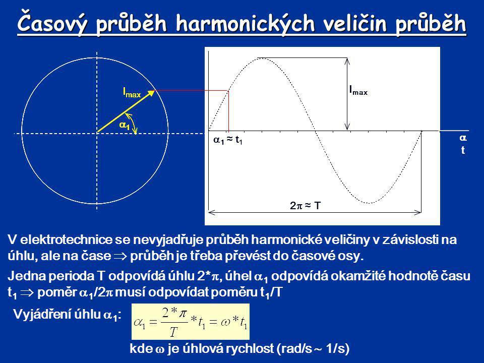 Časový průběh harmonických veličin průběh V elektrotechnice se nevyjadřuje průběh harmonické veličiny v závislosti na úhlu, ale na čase  průběh je tř