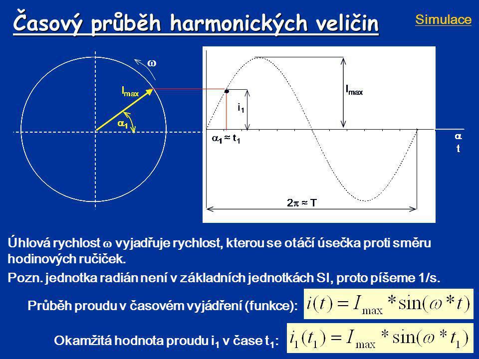 Časový průběh harmonických veličin Úhlová rychlost  vyjadřuje rychlost, kterou se otáčí úsečka proti směru hodinových ručiček. Pozn. jednotka radián