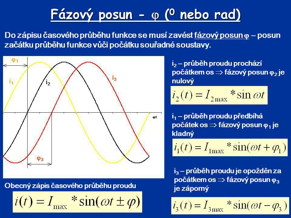 Fázový posun -  ( 0 nebo rad) Do zápisu časového průběhu funkce se musí zavést fázový posun  – posun začátku průběhu funkce vůči počátku souřadné so